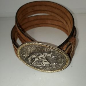 Vintage leather belt with bucking bronco buckle